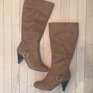 NWT Tan Tall Boot with Bronze Detail | Breckelles